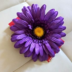 Purple daisy clips (set of 6)